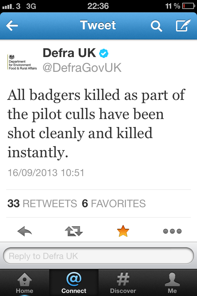 Defra Sep 16 tweet badgers shot humanely